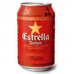 Cerveza Estrella Damm lata 33 ml.