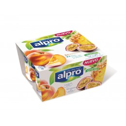 Yogur Soja Alpro Melocoton Piña Maracuya 4x120g.