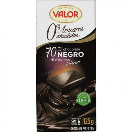 Valor Chocolate negro 70% S/Azucar 125g.